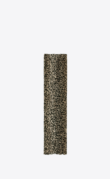 SAINT LAURENT Rectangular Scarf D Signature Pleated Scarf in Beige and Black Babycat Printed Wool and Silk CRÊPE a_V4