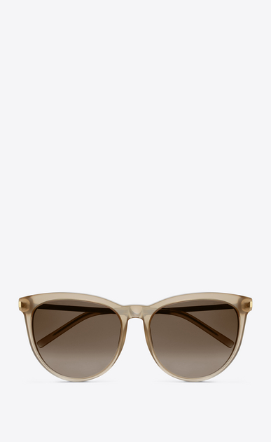 SAINT LAURENT Sunglasses D Classic 24 sunglasses in beige opal acetate AND SILVER METAL with brown shaded lenses a_V4
