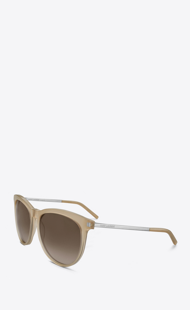 SAINT LAURENT Sunglasses D Classic 24 sunglasses in beige opal acetate AND SILVER METAL with brown shaded lenses b_V4