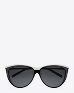 SAINT LAURENT Sunglasses D New Wave 32 sunglasses in black and silver metal with grey shaded lenses f