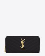 Monogram Saint Laurent Zip Around Wallet in Black Grain de Poudre Textured Matelassé Leather