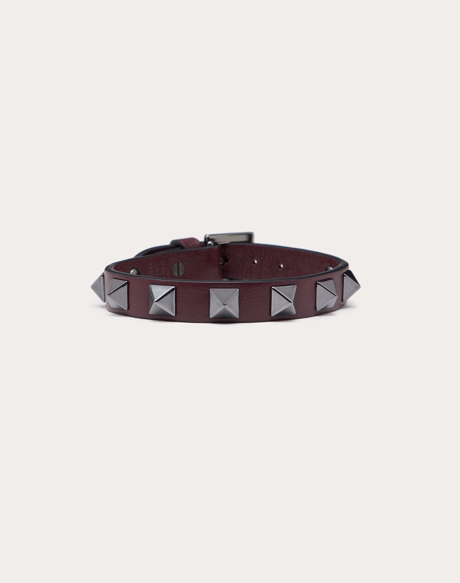 Bracelet Rockstud en cuir avec clous finition ruthénium
