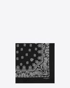 SAINT LAURENT Squared Scarves E bandana square scarf in black and white paisley printed cotton f