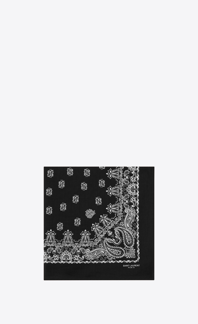 SAINT LAURENT Squared Scarves E bandana square scarf in black and white paisley printed cotton a_V4