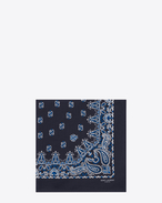 bandana square scarf in blue and white paisley printed coton