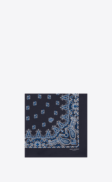 SAINT LAURENT Squared Scarves E bandana square scarf in blue and white paisley printed coton a_V4