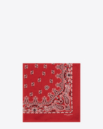 SAINT LAURENT Squared Scarves E bandana square scarf in red and white paisley printed coton f