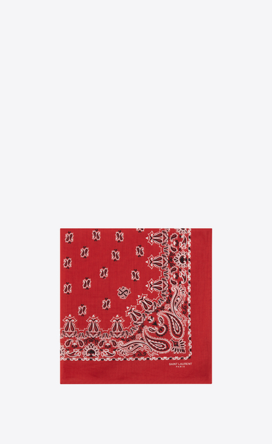 SAINT LAURENT Squared Scarves E bandana square scarf in red and white paisley printed coton a_V4
