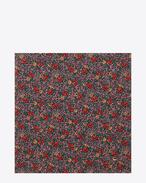Large Square Scarf in Black and Red Prairie Printed Wool Étamine