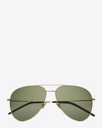 SAINT LAURENT CLASSIC E CLASSIC 11 AVIATOR SUNGLASSES IN shiny gold STEEL WITH Green LENSES f