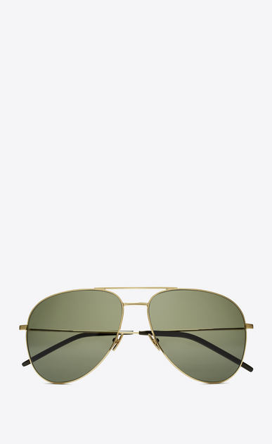 SAINT LAURENT CLASSIC E classic 11 aviator sunglasses in shiny gold steel with green lenses a_V4