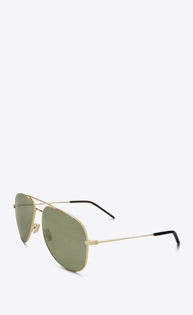 SAINT LAURENT CLASSIC E 11 aviator sunglasses in shiny gold steel with green lenses b_V4