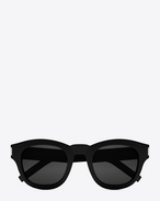SAINT LAURENT BOLD E BOLD 2 Sunglasses in Shiny Black Acetate with Grey Lenses f