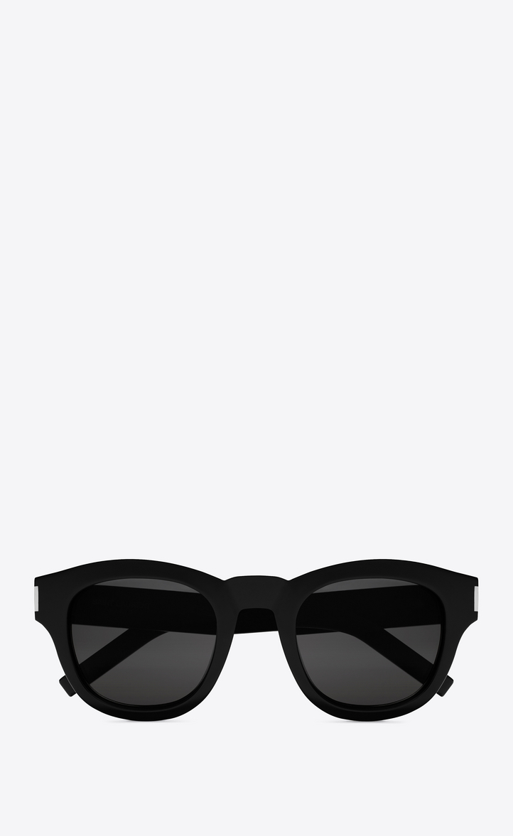 saint laurent lunettes de soleil bold 2 monture en ac tate noir brillant et verres gris. Black Bedroom Furniture Sets. Home Design Ideas