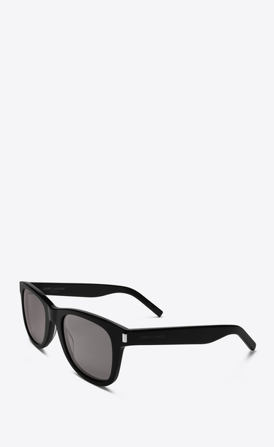 SAINT LAURENT CLASSIC E classic 51 sunglasses in shiny black acetate with smoke lenses b_V4