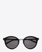 SAINT LAURENT CLASSIC E Classic 57 Sunglasses in Shiny Black Acetate and Shiny Silver Steel with Smoke Lenses f