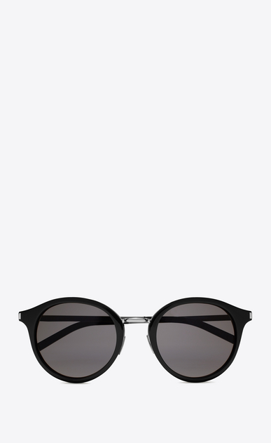SAINT LAURENT CLASSIC E classic 57 sunglasses in shiny black acetate and shiny silver steel with smoke lenses a_V4