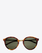 SAINT LAURENT CLASSIC E classic 57 sunglasses in shiny light havana and shiny gold steel with green lenses f