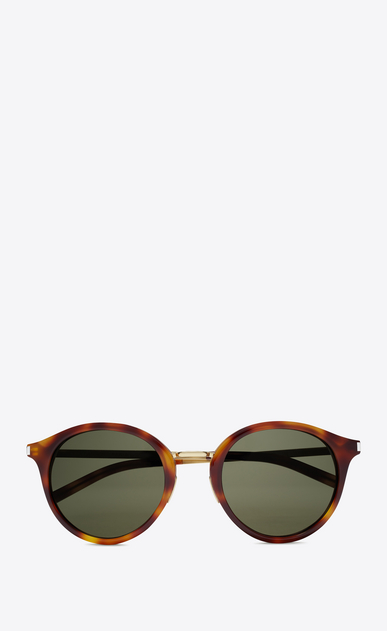 SAINT LAURENT CLASSIC E classic 57 sunglasses in shiny light havana and shiny gold steel with green lenses a_V4