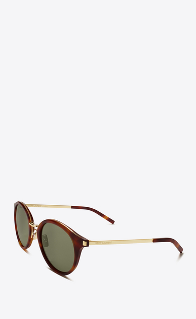 SAINT LAURENT CLASSIC E classic 57 sunglasses in shiny light havana and shiny gold steel with green lenses b_V4