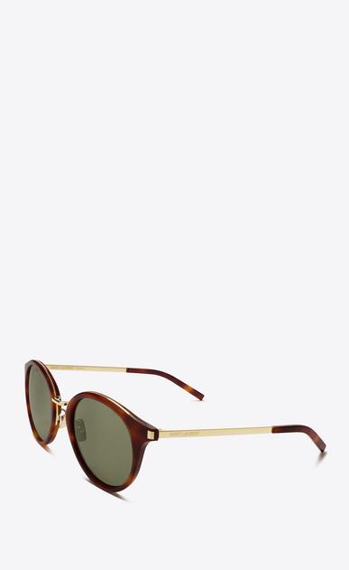 SAINT LAURENT CLASSIC E occhiali da sole classic 57 color avana chiaro e dorati in acetato e acciaio lucidi con lenti verdi b_V4