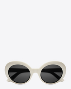 NEW WAVE 98 CALIFORNIA Sunglasses in Shiny Ivory Acetate with Smoke Lenses