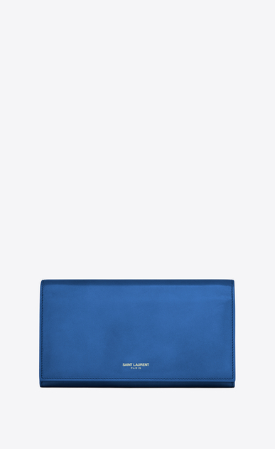 SAINT LAURENT Saint Laurent Paris SLG D CLASSIC SAINT LAURENT PARIS LARGE FLAP WALLET IN Royal Blue LEATHER v4