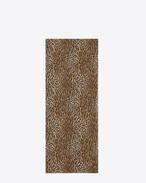 Écharpe oversize en étamine de laine à imprimé chat sauvage noir et brun
