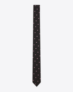 SAINT LAURENT Skinny Ties U Signature Star Skinny Tie in Black and Rose Silk Jacquard f