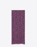 Écharpe oversize en étamine de laine à imprimé floral fuchsia et noir