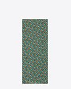 Écharpe oversize en étamine de laine à imprimé prairie multicolore
