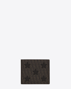 SAINT LAURENT Monogram Stars U Classic TOILE MONOGRAM CALIFORNIA East/West Wallet in Black Printed Canvas and Leather f