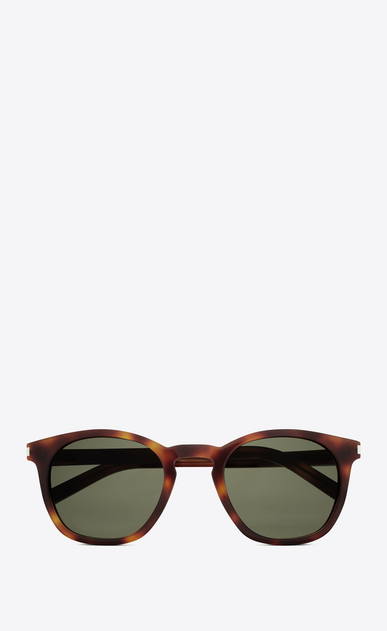 SAINT LAURENT CLASSIC E Classic 28 Sunglasses in Shiny Light Havana Acetate with Green Lenses a_V4
