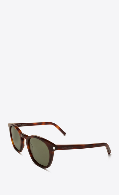 SAINT LAURENT CLASSIC E Classic 28 Sunglasses in Shiny Light Havana Acetate with Green Lenses b_V4