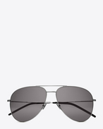 SAINT LAURENT CLASSIC E CLASSIC 11 AVIATOR SUNGLASSES IN shiny silver STEEL WITH Smoke LENSES f