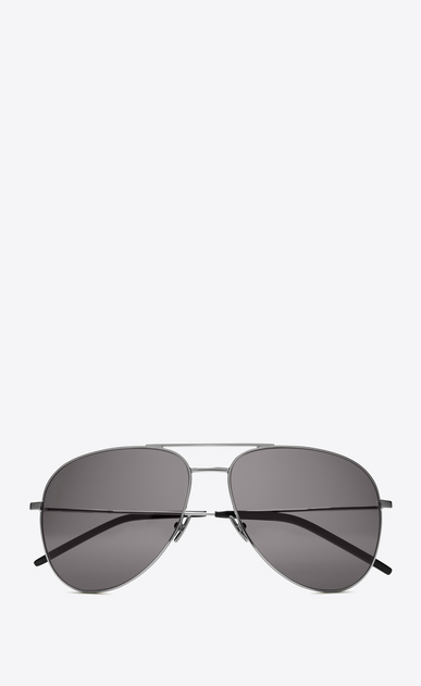 SAINT LAURENT CLASSIC E CLASSIC 11 AVIATOR SUNGLASSES IN shiny silver STEEL WITH Smoke LENSES a_V4