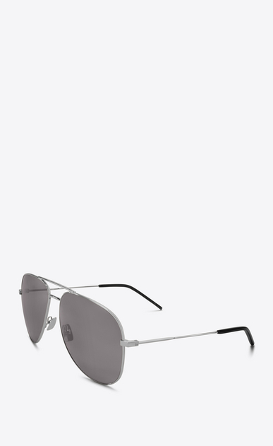 SAINT LAURENT CLASSIC E 11 aviator sunglasses in shiny silver steel with smoke lenses b_V4