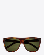 SAINT LAURENT NEW WAVE E NEW WAVE 1 Sunglasses in Shiny Light Havana Acetate with Green Lenses f