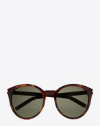 SAINT LAURENT Sunglasses D Classic 6 Sunglasses in Shiny Light Havana Acetate with Green Lenses f