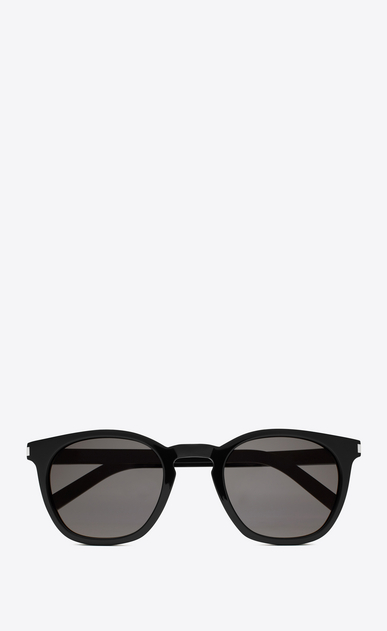 SAINT LAURENT CLASSIC E Classic 28 Sunglasses in Shiny Black Acetate with Smoke Lenses a_V4