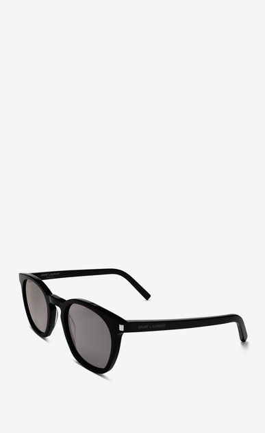 SAINT LAURENT CLASSIC E Classic 28 Sunglasses in Shiny Black Acetate with Smoke Lenses b_V4