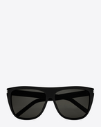 SAINT LAURENT NEW WAVE E NEW WAVE 1 Sunglasses in Shiny Black Acetate with Smoke Lenses f
