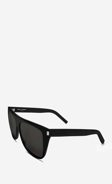 SAINT LAURENT NEW WAVE E new wave sunglasses in shiny black with smoke lenses b_V4