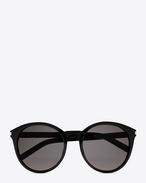 Occhiali da sole Classic 6 neri in acetato lucido con lenti grigio fumo