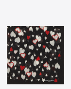Large Square Scarf in Black and Red Heart Printed Wool Étamine