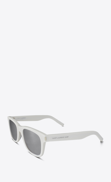 SAINT LAURENT CLASSIC E Classic SL 51 SURF Sunglasses in Shiny Ivory Acetate with Silver Lenses b_V4