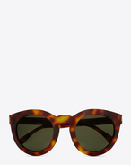 SAINT LAURENT BOLD E BOLD SL 102 Sunglasses in Shiny Light Havana Acetate with Green Lenses f