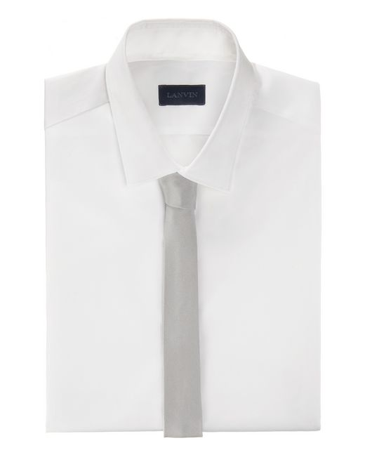 lanvin narrow pale gray tie with a twill motif men