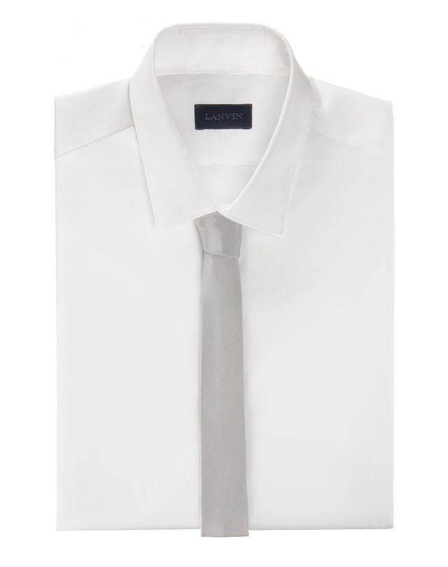 LANVIN Narrow pale gray tie with a twill motif Tie U r