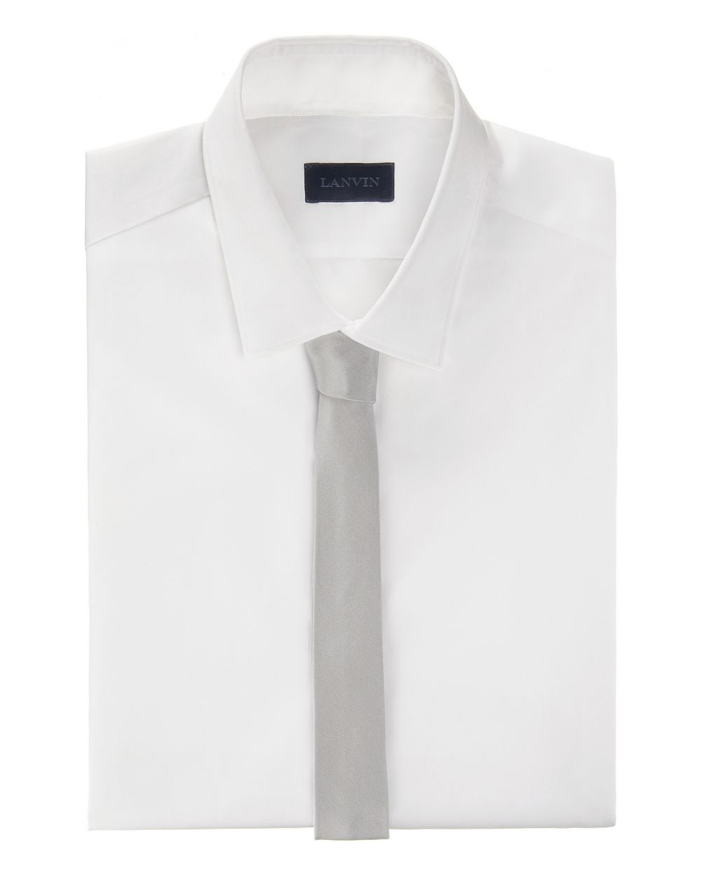 Narrow pale gray tie with a twill motif - Lanvin